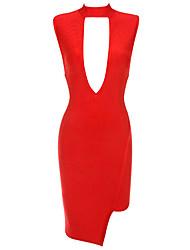 Women's Red Keyhole Cut out Bandage Dress
