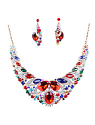 Europe And The United States Color Exaggerated Bride Necklace Earrings Set