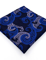 BH14 Mens Hanky Navy Blue Multicolor Paisley 100% Silk Business Casual Jacquard Woven For Men