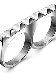 Punk Casual Fashion Style Nightclub Tide Models Men's Ring Two Fingers Charm Ring For Men Titanium Steel Party Rings