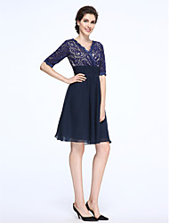 A-Line V-neck Knee Length Chiffon Lace Mother of the Bride Dress with Lace Ruching by LAN TING BRIDE®