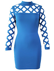 Women's Blue Hollow-out Long Sleeve Mock Neck Bodycon Dress