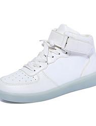 Feminino-Tênis-Light Up Shoes-Creepers-Preto Branco-Courino-Ar-Livre Casual Para Esporte