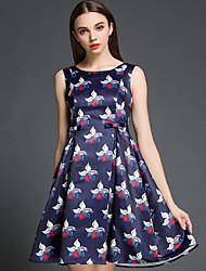 Feminino Evasê Vestido, Festa/Coquetel Férias Para Noite Vintage Moda de Rua Sofisticado Estampado Decote Redondo Acima do JoelhoSem