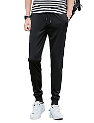 Men's Plus Size Slim Skinny Chinos Pants,Going out Casual/Daily Sports Vintage Simple Street chic Solid Low Rise Drawstring Cotton