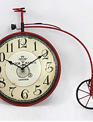 E-HOME® Retro Red Bike Metal Wall Clock One Pcs