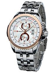 Masculino Relógio Elegante Relógio de Moda Chinês Quartzo Calendário Lega Banda Cores MúltiplasPreto Prata/Black Preto/Branco