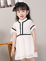 Girl's Cotton Sweet Fashion Daily/Go Out Summer Solid Color Short Sleeve Princess Dress Children Lace Patchwork One-piece
