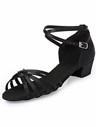 Kids' Dance Shoes Latin shoes Satin Satin Latin Heels Chunky Heel Indoor Brown Black L4-L29