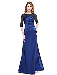 TS Couture Formal Evening Dress - Open Back A-line Jewel Floor-length Nylon Taffeta with Beading Pleats