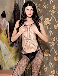Lingerie en Dentelle Ultra Sexy Body Vêtement de nuit Femme Nylon Spandex Noir
