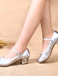 Customizable Women's Dance Shoes Satin Latin Full Sole Flat Heel Indoor
