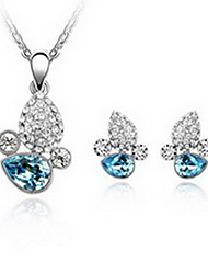 Jewelry 1 Necklace 1 Pair of Earrings Crystal Party Alloy 1set Women Red Blue Wedding Gifts