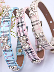 Cat Dog Collar Adjustable/Retractable Hands free Plaid/Check Blue Pink Beige PU Leather