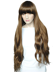 Women's Party Wig Brown Long Big Wavy With Air Bangs Heat Resistant Fiber Wig With Wigs Cap