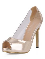 Women's Sandals Summer Comfort PU Dress Casual Stiletto Heel Gold