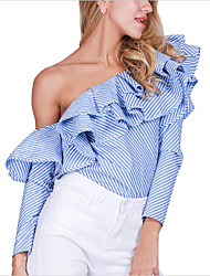 Women's Ruffle|Off The Shoulder Formal Party/Cocktail Club Sexy Shirt,Striped Off Shoulder Long Sleeve Blue Cotton
