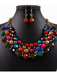 Bohemian 0263 # color round bead necklaces earrings suit