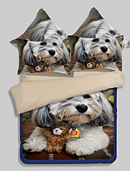 Animal Duvet Cover Sets 4 Piece Polyester 3D Reactive Print Polyester Queen 1pc Duvet Cover 2pcs Shams 1pc Flat Sheet