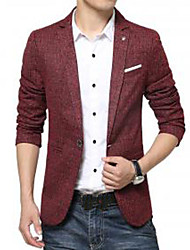 Men's Solid Casual Blazer,Cotton / Polyester Long Sleeve Red / Gray