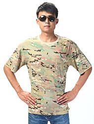 Unisexe Tee-shirt Chasse Respirable Vestimentaire Eté Camouflage