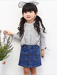 Girl Casual/Daily Holiday School Striped Shirt,Cotton Spring Long Sleeve