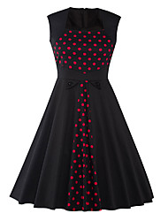 Women's New Style Casual Party Vintage Sleeveless Polka Dot Black Color Cotton / Polyester Summer Dress