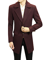 2016 new winter men's wool coat male in the long section of men's slim wool woolen coat coat.