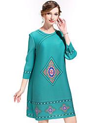 Damen Tunika Kleid-Ausgehen Anspruchsvoll Druck Rundhalsausschnitt Übers Knie ¾-Arm Blau Rot Polyester Frühling Sommer Mittlere Hüfthöhe