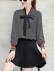 Women's Going out Street chic Blouse,Check Cowl Long Sleeve Black Brown Polyester