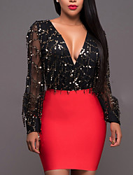 Women's Casual/Daily Club Sexy Street chic Bodycon DressPatchwork Sequins Mesh Deep V Above Knee Long Sleeve