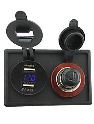 briquet 12v / 24v allume-cigare et 4.2a double usb adaptateur voltmètre avec panneau de support de logement pour bateau de voiture camion