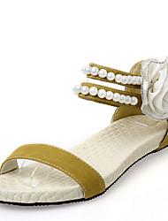 Women's Sandals Spring Summer Fall Other Fleece Dress Casual Flat Heel Flower Blue Yellow Pink Beige