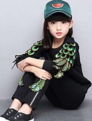 Girl Casual/Daily Jacquard Sets,Cotton Spring Fall Long Sleeve Clothing Set