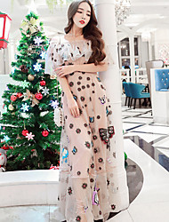 2017 nouvelle robe de plage lourds rétro chinois robe de style robe brodée de gaze femmes brodées