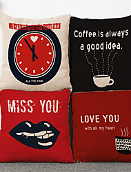 4pcs Modern Style Coffee Clock Pillowcase Home Decor Pillow Cover