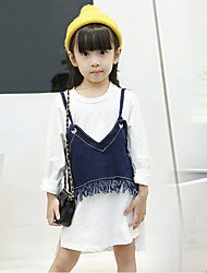 Girl's Fashion Going out Casual/Daily Holiday Cotton Spring/Fall Long Sleeve Shirt Blouse And Vest Children Tassels Two-piece Sets
