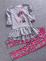 Girl Casual/Daily Solid Sets,Cotton Summer Short Sleeve Clothing Set