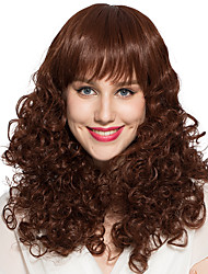 Kinky Curly Wig Synthetic Fiber Medium Long Heat Resistant Wig Women Wig Hairstyle