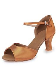 Sapatos de Dança(Marrom escuro) -Feminino-Não Personalizável-Latina Tênis de Dança Moderna Salsa Sapatos de Swing