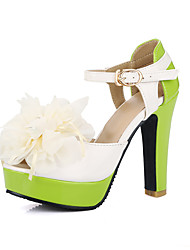 Women's Sandals Spring Summer Fall Other Patent Leather Office & Career Party & Evening Dress Chunky Heel Buckle FlowerYellow Green