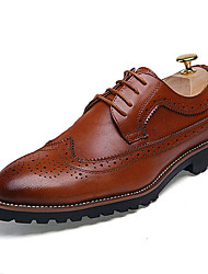 Men's Oxfords Spring Summer Fall Winter Other Leather Wedding Office & Career Party & Evening Flat Heel Lace-up Black Brown Red Other