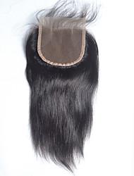 4 * 4 fermeture à lacets 8-20 pouces de cheveux humains de style droite brazilian fermeture de cheveux humains