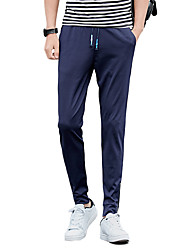 Men's Plus Size Slim Skinny Chinos Sweatpants Pants,Casual/Daily Sports Vintage Street chic Active Solid Low Rise Drawstring Cotton