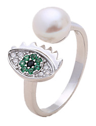 Ring Imitation Pearl AAA Cubic Zirconia Silver Pearl Imitation Pearl Zircon Simulated Diamond Fashion Silver Jewelry Daily Casual 1pc