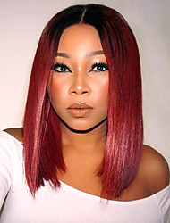 Ombre T1B/Red Color Synthetic Short Bob Lace Front Wig Straight Hair Heat Resistant Synthetic Fiber Hair Wigs