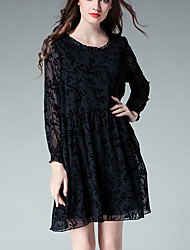 Women's Plus Size Going out Beach Vintage Simple Cute Loose Chiffon Dress,Floral Round Neck Above Knee Long Sleeve Polyester Black Yellow