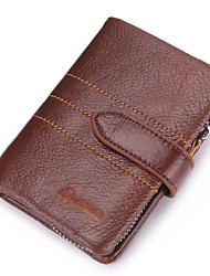 Contacts Genuine Leather Men Wallet Passcase Zipper Coin Pouch Small Clutch Casual Outdoor Shopping Cowhide