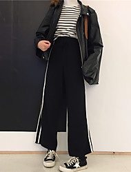 Sign wild Department of bandwidth loose waist was thin knit pants casual trousers wide leg pants side bumper stripes
