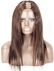 cor marrom # 2 u humana parte peruca malaio cabelo humano de 16 polegadas 130% de densidade de 1,5 * 4inch parte do meio upart forma